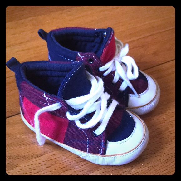 GAP Other - Baby GAP Boys Red Plaid Hi Top Booties Size 18-24m